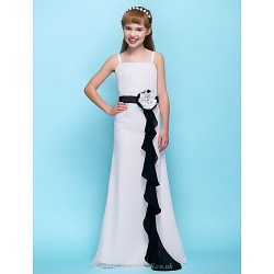 Floor-length Chiffon Junior Bridesmaid Dress - White Sheath/Column Spaghetti Straps