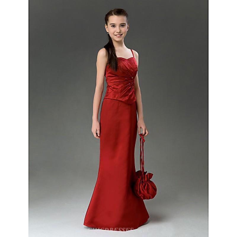 120616b27 ... Floor-length Satin Junior Bridesmaid Dress - Burgundy Trumpet/Mermaid  Sweetheart / Spaghetti Straps ...