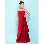 Floor-length Satin Junior Bridesmaid Dress - Burgundy A-line / Princess Spaghetti Straps Junior Bridesmaid Dresses