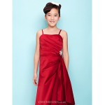Floor Length Satin Junior Bridesmaid Dress Burgundy A Line Princess Spaghetti Straps