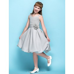 Knee Length Chiffon Junior Bridesmaid Dress Silver A Line Straps
