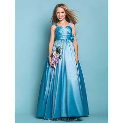 Floor Length Taffeta Junior Bridesmaid Dress Pool A Line Princess Straps