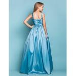 Floor-length Taffeta Junior Bridesmaid Dress - Pool A-line / Princess Straps Junior Bridesmaid Dresses