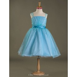 Knee-length Satin / Tulle Junior Bridesmaid Dress - Pool Ball Gown Straps