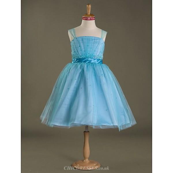 Knee-length Satin / Tulle Junior Bridesmaid Dress - Pool Ball Gown Straps Junior Bridesmaid Dresses