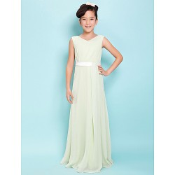 Floor Length Chiffon Junior Bridesmaid Dress Sage Sheath Column V Neck