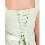 Floor-length Chiffon Junior Bridesmaid Dress - Sage Sheath/Column V-neck Junior Bridesmaid Dresses