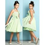 Knee-length Chiffon Junior Bridesmaid Dress - Sage A-line Straps Junior Bridesmaid Dresses