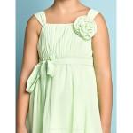 Knee Length Chiffon Junior Bridesmaid Dress Sage A Line Straps