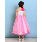 Tea-length Tulle Junior Bridesmaid Dress - Fuchsia Ball Gown One Shoulder Junior Bridesmaid Dresses