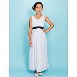 Ankle-length Chiffon Junior Bridesmaid Dress - White Sheath/Column V-neck