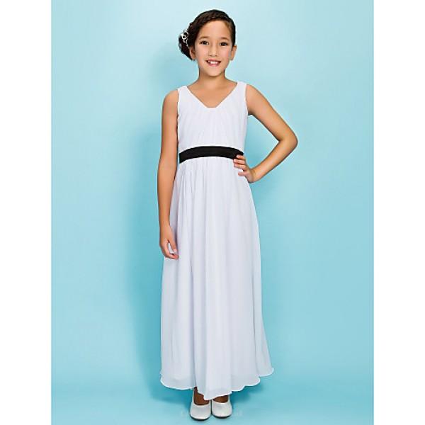 Ankle-length Chiffon Junior Bridesmaid Dress - White Sheath/Column V-neck Junior Bridesmaid Dresses