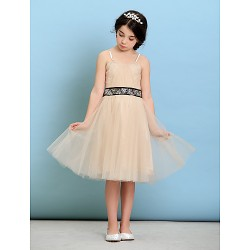 Knee Length Tulle Junior Bridesmaid Dress Champagne A Line Princess Spaghetti Straps