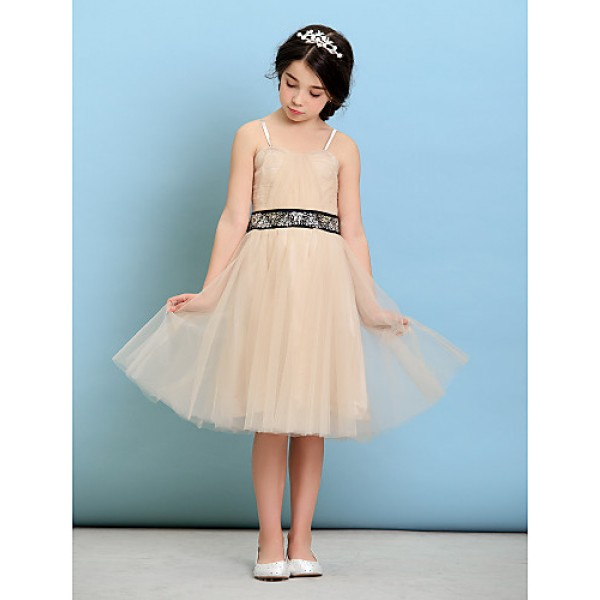 Knee-length Tulle Junior Bridesmaid Dress - Champagne A-line / Princess Spaghetti Straps Junior Bridesmaid Dresses