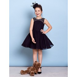 Knee Length Chiffon Junior Bridesmaid Dress Black A Line Jewel