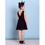 Knee-length Chiffon Junior Bridesmaid Dress - Black A-line Jewel Junior Bridesmaid Dresses