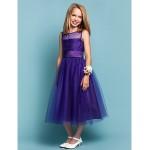 Dress - Regency Hourglass / Pear / Misses / Petite / Apple / Inverted Triangle / Rectangle A-line / Princess Jewel Tea-length Tulle Junior Bridesmaid Dresses