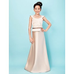 Floor Length Satin Junior Bridesmaid Dress Champagne A Line Princess Scoop