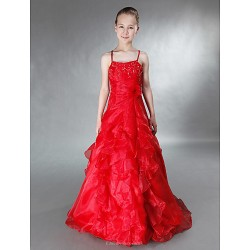 Floor Length Satin Organza Junior Bridesmaid Dress Ruby A Line Princess Spaghetti Straps