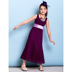 Ankle Length Chiffon Junior Bridesmaid Dress Grape Sheath Column Scoop