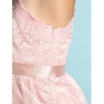Knee-length Lace Bridesmaid Dress - Blushing Pink A-line One Shoulder Junior Bridesmaid Dresses