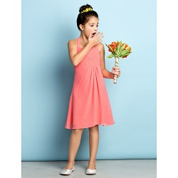 Knee Length Chiffon Junior Bridesmaid Dress Watermelon A Line Halter