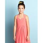 Knee-length Chiffon Junior Bridesmaid Dress - Watermelon A-line Halter Junior Bridesmaid Dresses