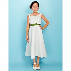 Tea Length Satin Junior Bridesmaid Dress Ivory A Line Princess Square