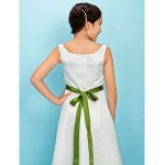 Tea-length Satin Junior Bridesmaid Dress - Ivory A-line / Princess Square Junior Bridesmaid Dresses