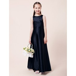 Floor Length Satin Junior Bridesmaid Dress Dark Navy A Line Princess Jewel