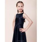 Floor-length Satin Junior Bridesmaid Dress - Dark Navy A-line / Princess Jewel Junior Bridesmaid Dresses