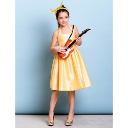 Knee Length Taffeta Junior Bridesmaid Dress Daffodil A Line Halter