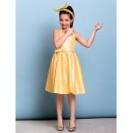 Knee-length Taffeta Junior Bridesmaid Dress - Daffodil A-line Halter Junior Bridesmaid Dresses