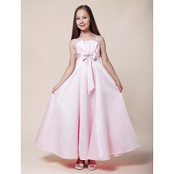 Floor Length Stretch Satin Junior Bridesmaid Dress Blushing Pink A Line Princess Spaghetti Straps