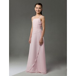 Floor Length Chiffon Junior Bridesmaid Dress Blushing Pink Sheath Column Spaghetti Straps