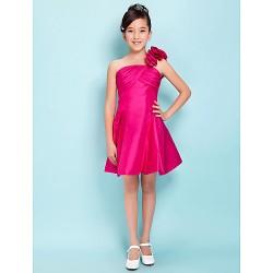 Knee Length Taffeta Junior Bridesmaid Dress Fuchsia A Line Princess One Shoulder