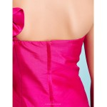 Knee-length Taffeta Junior Bridesmaid Dress - Fuchsia A-line / Princess One Shoulder Junior Bridesmaid Dresses