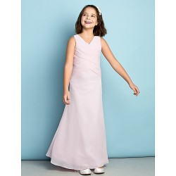 Ankle Length Chiffon Junior Bridesmaid Dress Blushing Pink Sheath Column V Neck