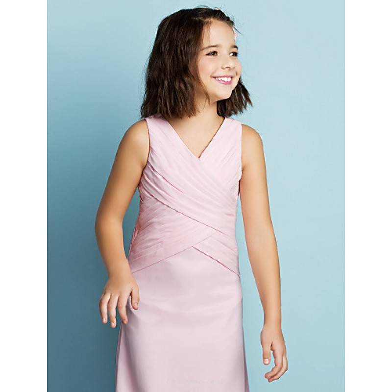 412056711b2be ... Ankle-length Chiffon Junior Bridesmaid Dress - Blushing Pink Sheath/Column  V-neck ...