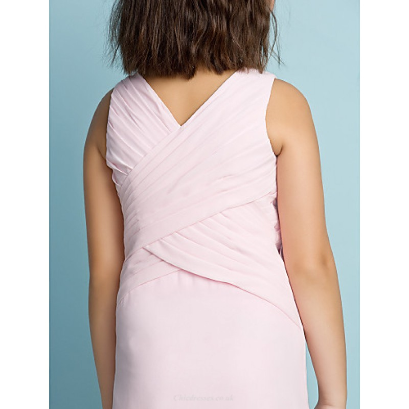 0e00f8b084e58 ... Ankle-length Chiffon Junior Bridesmaid Dress - Blushing Pink Sheath/Column  V-neck