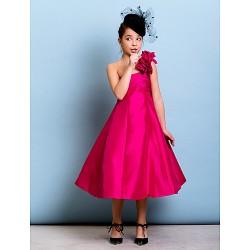 Tea-length Taffeta Junior Bridesmaid Dress - Fuchsia A-line / Princess One Shoulder