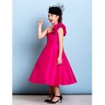 Tea-length Taffeta Junior Bridesmaid Dress - Fuchsia A-line / Princess One Shoulder Junior Bridesmaid Dresses