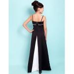 Floor-length Satin Junior Bridesmaid Dress - Black A-line / Princess Spaghetti Straps / Square Junior Bridesmaid Dresses