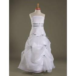 Floor Length Satin Organza Junior Bridesmaid Dress White A Line Princess Spaghetti Straps