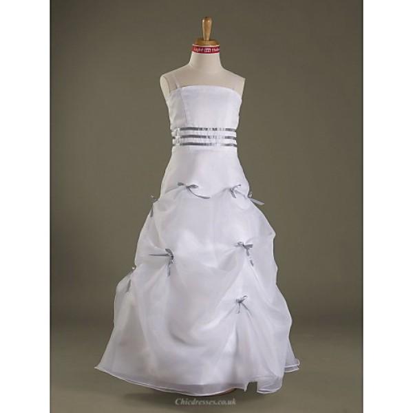 Floor-length Satin / Organza Junior Bridesmaid Dress - White A-line / Princess Spaghetti Straps Junior Bridesmaid Dresses
