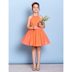 Knee Length Chiffon Junior Bridesmaid Dress Watermelon A Line Jewel