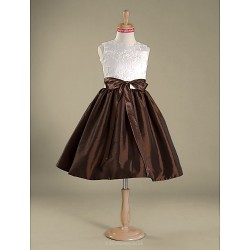 Knee Length Lace Taffeta Junior Bridesmaid Dress A Line Princess Jewel