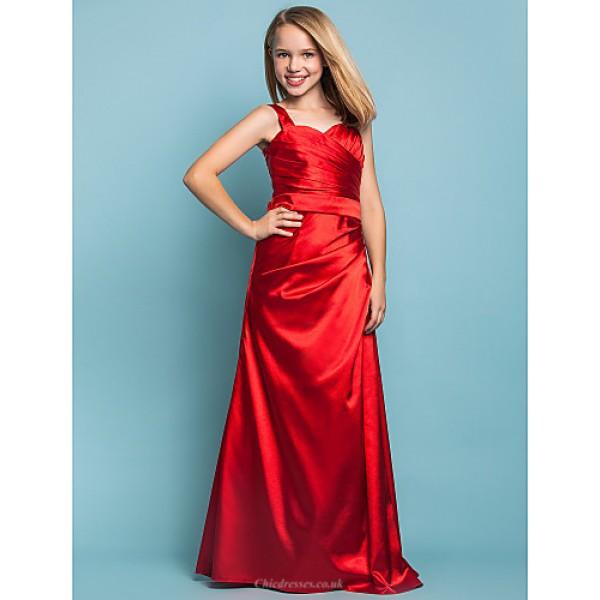 Floor-length Stretch Satin Junior Bridesmaid Dress - Ruby Sheath/Column Straps Junior Bridesmaid Dresses