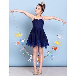 Short/Mini Chiffon Junior Bridesmaid Dress - Dark Navy A-line Spaghetti Straps