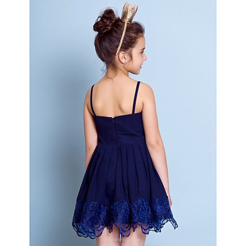 841c65cd402 ... Short Mini Chiffon Junior Bridesmaid Dress - Dark Navy A-line Spaghetti  Straps Junior ...